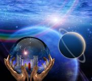 Crystal ball. With temple and monk inside. Clouds and planets. Human elements were created with 3D software and are not from any actual human likenesses Stock Photos