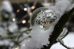 Crystal ball in a tree with lights Royalty Free Stock Photos