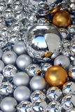 Crystal balls. Background with silver and gold crystal balls Royalty Free Stock Photo