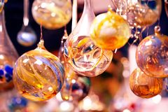 Crystal balls with candle - Glaskugeln mit Kerzen Stock Images