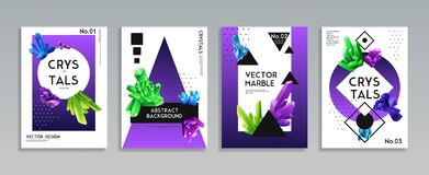 Crystal Banners Realistic Set Photographie stock