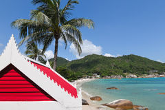 Crystal Bay Beach, Koi Samui. Colorful house with red roof on the beach in Koh Samui, Thailand Royalty Free Stock Images