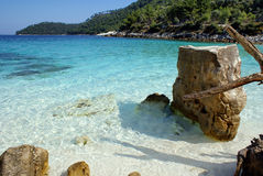 Crystal beach. On Thassos island, Greece stock images