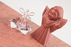 Crystal Bell ornament and Christmas Chocolate Angel Stock Images