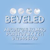 Crystal Beveled Outline Font e numeri Fotografia Stock
