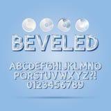 Crystal Beveled Outline Font et nombres Photographie stock