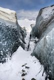 Crystal Blue Ice Cave Skaftafell. At vatnajokull glacier in iceland royalty free stock images