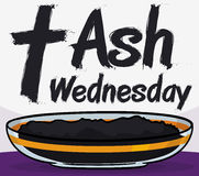 Crystal Bowl with Ashes for Ash Wednesday Celebration, Vector Illustration royalty free stock image