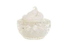 Crystal bowl filled with whipped cream Royalty Free Stock Photos