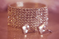 Crystal bracelet and earrings Royalty Free Stock Image