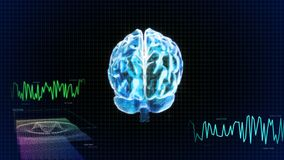 The crystal brain back and wave graph Stock Photography