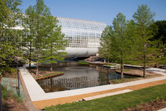Crystal Bridge in Oklahoma City. East view of the Crystal Bridge in Oklahoma City, taken after a recent renovation of the grounds.  Inside the Crystal Bridge is Royalty Free Stock Photos