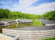 Crystal Bridges Museum Bentonville Arkansas. Internationally renowned architect Moshe Safdie designs this structure that supports and enhances a project's Royalty Free Stock Photos