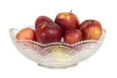 Crystal bunke med äpplen Royaltyfri Fotografi
