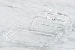 Crystal butter dish Royalty Free Stock Photography