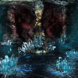 Crystal Cave. Colorful scene with cave and blue crystals Stock Image