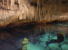 Crystal Caves Water. Crystal colourful water in Crystal and Fantasy caves, Bermuda royalty free stock images