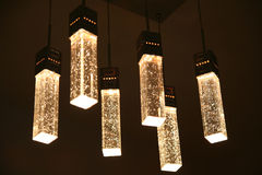 Crystal ceiling light. Crystal-clear and transparent Stock Photos