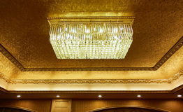 crystal light ceiling lamp indoor home room lighting Stock Photo