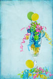 Crystal Celebration. Balloons and ribbons in crystal flute vector illustration