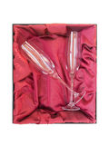 Crystal Champagne Flutes. Two crystal champagne flutes in a gift box Royalty Free Stock Photography