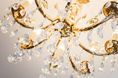 Crystal chandelier. Close-up of a beautiful crystal chandelier royalty free stock photos