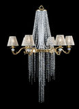 Crystal Chandelier. On black background stock photos