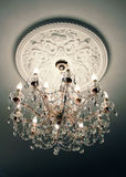 Crystal chandelier. Close-up of a beautiful crystal chandelier royalty free stock images