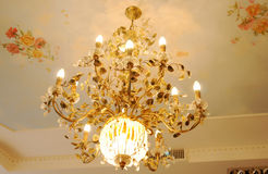 Crystal chandelier. Beautiful crystal chandelier in a room stock images