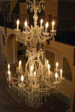 Crystal Chandelier. A beautiful electric crystal chandelier royalty free stock photo