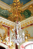 Crystal chandelier. Ancient crystal chandelier, interior of ancient Rundale castle Latvia Royalty Free Stock Images
