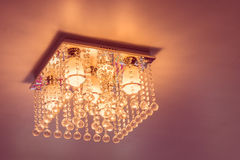 Crystal chandelier on ceiling Royalty Free Stock Photography