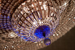 Crystal Chandelier. Clear and blue crystal chandelier closeup Royalty Free Stock Photography