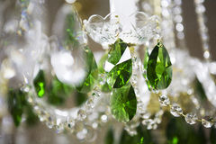 Crystal chandelier. Close-up of a beautiful crystal chandelier stock image