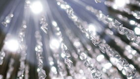 Crystal chandelier. Close up of the crystals. stock video