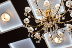 Crystal chandelier. Closeup of a beautiful crystal chandelier stock images