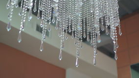 Crystal chandelier on fashion ceiling. 4K stock video