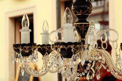 Crystal chandelier at the flea market Stock Photography
