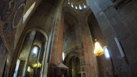Crystal chandelier in Georgian church stock video