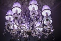 Crystal Chandelier with lampshade Stock Photos