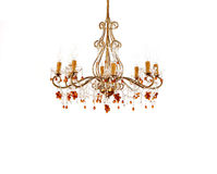 Crystal chandelier. Luxury classical crystal chandelier on white background royalty free stock photo