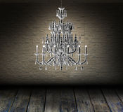 Crystal chandelier in a room Royalty Free Stock Image