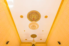 Crystal chandelier shines hanging from the ceiling Royalty Free Stock Photo