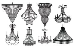 Crystal Chandeliers Set Collection classico Immagini Stock
