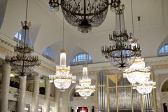 Crystal chandeliers in the St. Petersburg Philharmonic. Royalty Free Stock Image