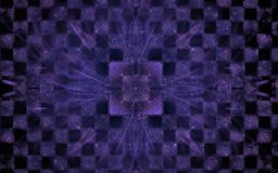 Crystal on the chessboard. Abstract illustration symmetrical fractal square lilac color with patterns and diverging lines on the background chess board with stock illustration
