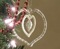 Crystal Christmas Heart Immagine Stock Libera da Diritti