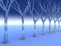 Crystal Chrome Trees. Surreal Chrome Trees in a cold blue Enviroment Stock Photo