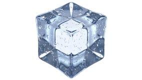 Crystal Clear Artificial Acrylic Ice cuba a forma quadrada 3D rendem em um fundo branco imagens de stock royalty free