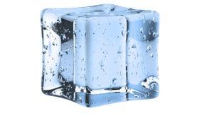 Crystal Clear Artificial Acrylic Ice cuba a forma quadrada em um fundo branco ilustra??o 3D ilustração royalty free